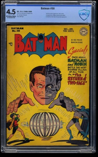 Batman #50 CBCS VG+ 4.5 Off White to White Two-Face Cover!