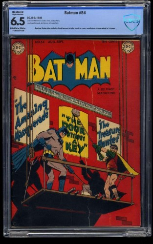 Batman #54 CBCS FN+ 6.5 Off White to White (Restored)