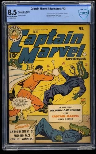 Captain Marvel Adventures #43 CBCS VF+ 8.5 Cream To Off White