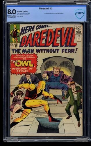 Daredevil #3 CBCS VF 8.0 Off White to White 1st Owl! Marvel Comics