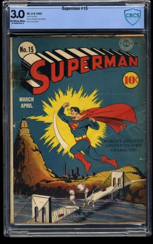 Superman #15 CBCS GD/VG 3.0 Off White to White