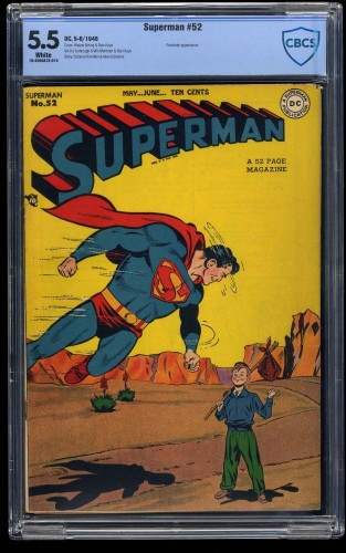 Superman #52 CBCS FN- 5.5 White Pages