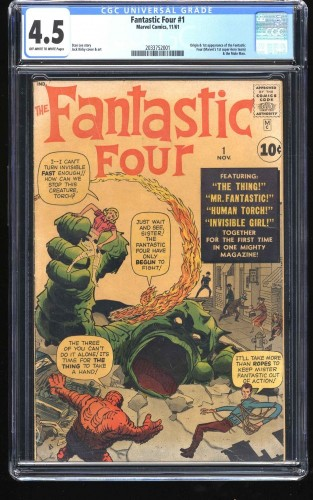 Fantastic Four #1 CGC VG+ 4.5 Off White to White NO Marvel Chipping!!