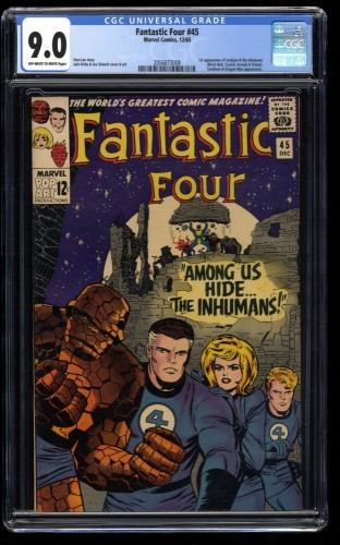 Fantastic Four #45 CGC VF/NM 9.0 Off White to White Marvel Comics 1st Inhumans!