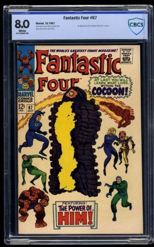 Fantastic Four #67 CBCS VF 8.0 White Pages Marvel Comics 1st Him / Adam Warlock!