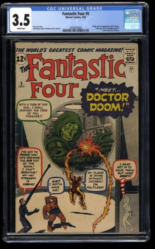 Fantastic Four #5 CGC VG- 3.5 White Pages Marvel Comics 1st Doctor Doom!