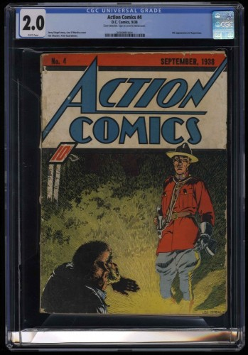 Action Comics #4 CGC GD 2.0 White Pages DC 4th appearance of Superman
