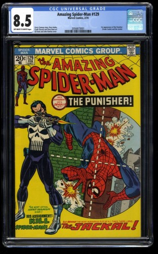 Cover Scan: Amazing Spider-Man #129 CGC VF+ 8.5 Off White to White Marvel Comics Spiderman