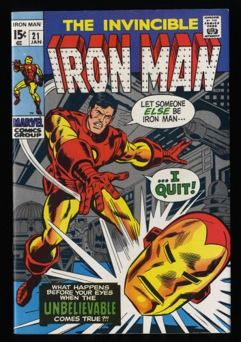 Iron Man #21 VF 8.0 White Pages