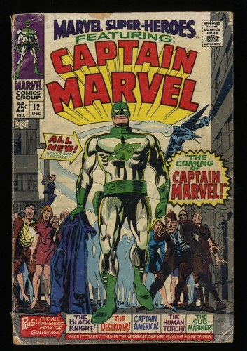 Marvel Super-Heroes #12 GD- 1.8 1st Captain Marvel!