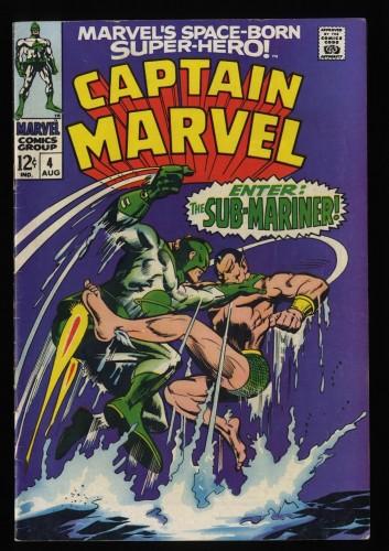 Captain Marvel #4 FN 6.0 Comic Sub-Mariner Battle!