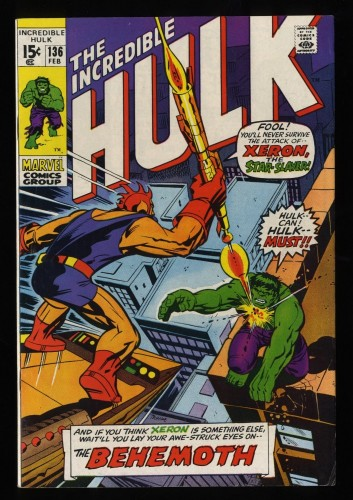 Incredible Hulk (1968) #136 FN+ 6.5 Marvel Comics 1st Xeron and Klaatu!