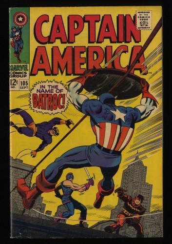 Captain America #105 FN+ 6.5 Batroc! Marvel Comics