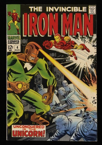 Iron Man #4 VF 8.0 White Pages 1st Unicorn!
