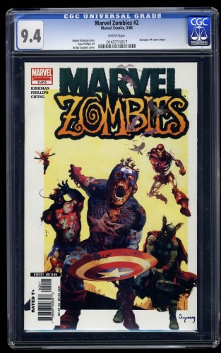 Marvel Zombies #2 CGC NM 9.4 White Pages Avengers #4 Cover Swipe!