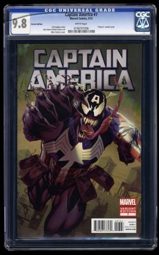 Captain America (2011) #7 CGC NM/M 9.8 White Pages Venom 1:50 Variant Cover!
