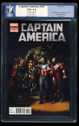 Captain America (2011) #10 PGX NM 9.4 White Pages Variant Edition!
