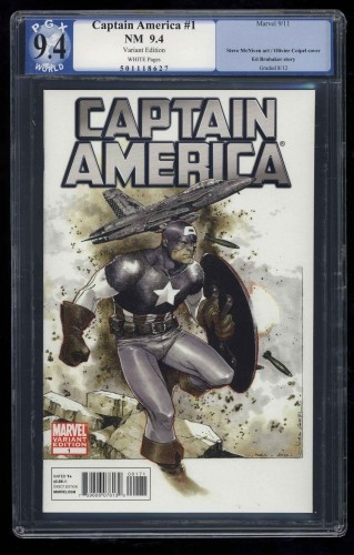 Captain America (2011) #1 PGX NM 9.4 White Pages Variant Edition!