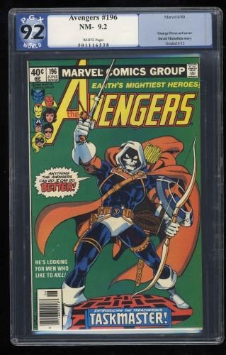 Avengers #196 PGX NM- 9.2 Off White Thor Captain America 1st Taskmaster!
