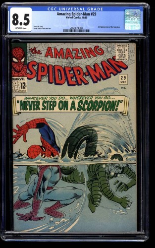 Amazing Spider-Man #29 CGC VF+ 8.5 Off White 2nd Scorpion! Spiderman