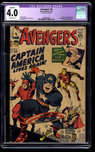 Avengers #4 CGC VG 4.0 Off White Captain America Qualified Centerfold Married