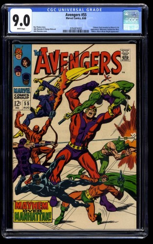 Avengers #55 CGC VF/NM 9.0 WHITE Pages Thor Captain America 1st Ultron!