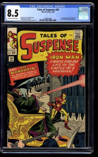 Tales of Suspense #50 CGC VF+ 8.5 Off White to White Iron Man 1st Mandarin!