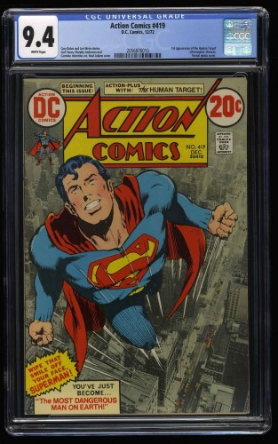 Action Comics #419 CGC NM 9.4 White Pages DC Superman