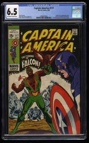 Captain America #117 CGC FN+ 6.5 Off White to White 1st Falcon! Marvel Comics