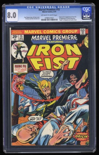 Marvel Premiere #15 CGC VF 8.0 Off White to White 1st Iron Fist!