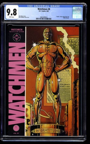 Watchmen #8 CGC NM/M 9.8 White Pages Death of the Original Nite Owl!
