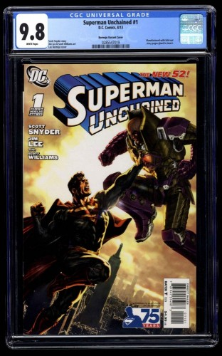 Superman Unchained #1 CGC NM/M 9.8 White Pages Bermejo Variant Cover!