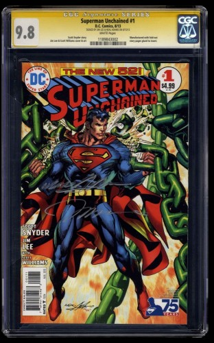Superman Unchained #1 CGC NM/M 9.8 SS Signed Jim Lee Neal Adams Variant Cover!