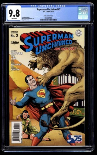 Superman Unchained #2 CGC NM/M 9.8 White Pages Frank Variant Cover