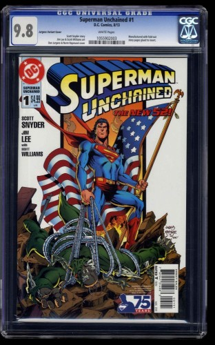 Superman Unchained #1 CGC NM/M 9.8 White Pages Jurgens Variant Cover!