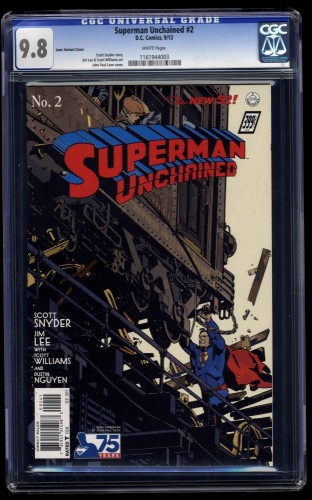 Superman Unchained #2 CGC NM/M 9.8 White Pages Leon Variant Cover!