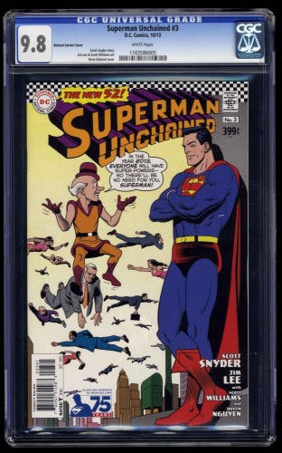 Superman Unchained #3 CGC NM/M 9.8 White Pages Bolland Variant Cover!
