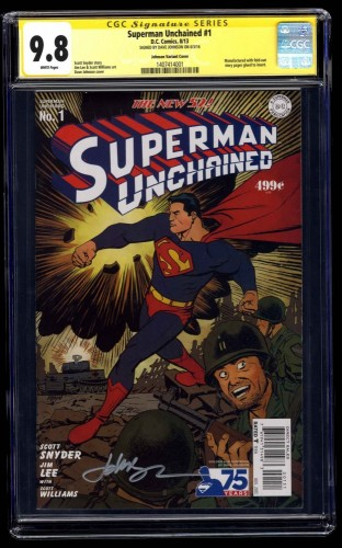 Superman Unchained #1 CGC NM/M 9.8 Johnson Variant Cover SS Dave Johnson!