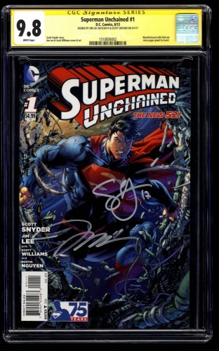 Superman Unchained #1 CGC NM/M 9.8 SS signed by Jim Lee & Scott Snyder!