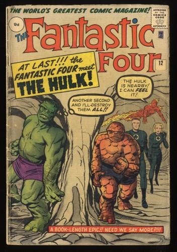 Fantastic Four #12 GD- 1.8 Marvel Comics Thing Vs Hulk!