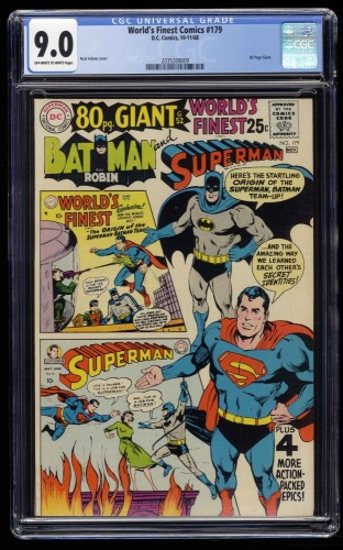 World's Finest Comics #179 CGC VF/NM 9.0 Off White to White
