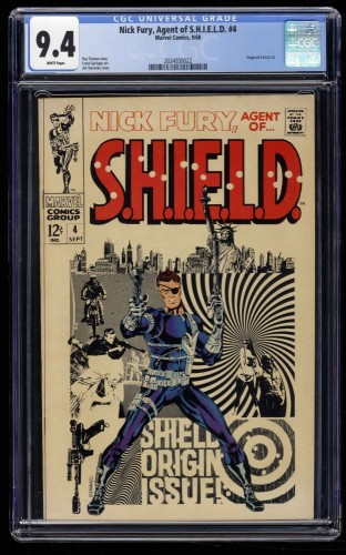 Nick Fury, Agent of SHIELD #4 CGC NM 9.4 White Pages Marvel Comics
