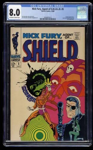 Nick Fury, Agent of SHIELD #5 CGC VF 8.0 Off White to White Marvel Comics