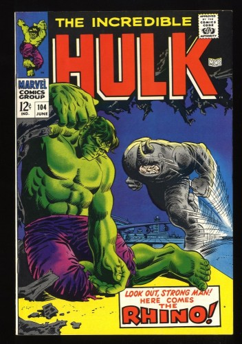 Incredible Hulk (1968) #104 VF 8.0 vs Rhino! Marvel Comics