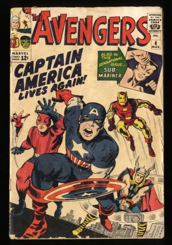 Avengers #4 GD 2.0 1st Silver Age Captain America!