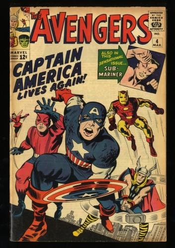 Avengers #4 VG/FN 5.0 1st Silver Age Captain America!