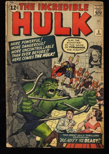 Incredible Hulk (1962) #5 GD/VG 3.0 1st Tyrannus!