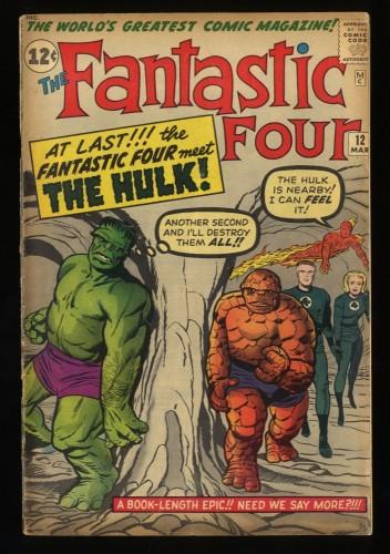 Fantastic Four #12 VG 4.0  1st Hulk vs Thing Battle! Marvel Comics