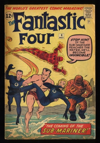 Fantastic Four #4 VG 4.0 1st Silver Age Sub-Mariner! Marvel Comics