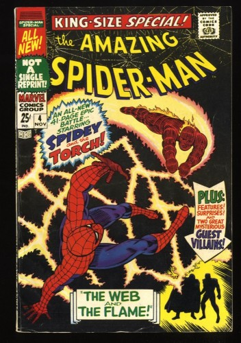 Amazing Spider-Man Annual #4 VG+ 4.5 Human Torch!